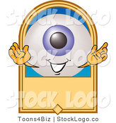 Vector Logo of a Blue Eyeball Mascot Cartoon Character on a Blank Tan Label by Toons4Biz