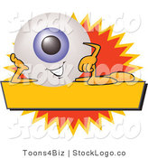 Vector Logo of a Blue Eyeball Mascot Cartoon Character on a Blank Yellow and Orange Label by Toons4Biz
