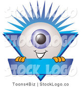 Vector Logo of a Blue Eyeball Mascot Cartoon Character on a Blue Business Label by Toons4Biz