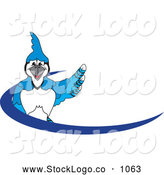 Vector Logo of a Blue Jay Character School Mascot Blue Dash Logo, on White by Toons4Biz