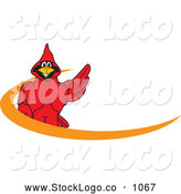 Vector Logo of a Bright Red Cardinal Character School Mascot Orange Dash Logo by Toons4Biz