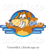 Vector Logo of a Brown Dog Mascot Cartoon Character Logo with Open Arms on Blue by Toons4Biz