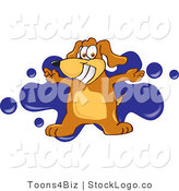 Vector Logo of a Brown Dog Mascot Cartoon Character with Arms Open for a Hug over a Blue Splatter by Toons4Biz