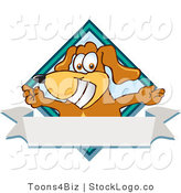 Vector Logo of a Brown Dog Mascot Cartoon Character with Open Arms over a Blank White Label and Blue Diamond by Toons4Biz
