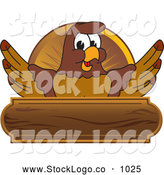 Vector Logo of a Brown Falcon Mascot Character Wooden Plaque by Toons4Biz
