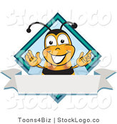 Vector Logo of a Bumble Bee Mascot Cartoon Character on a Blank White Label and Blue Diamond by Toons4Biz