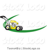 Vector Logo of a Cartoon Yellow Lawn Mower Mascot Cartoon Character on a Logo or Nametag with a Green Dash by Toons4Biz