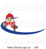 Vector Logo of a Cheerful and Friendly Penguin Mascot Cartoon Character Waving on a Blue Logo Dash or Name Tag by Toons4Biz
