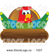 Vector Logo of a Cheerful Macaw Parrot Character Mascot Wooden Plaque Logo by Toons4Biz