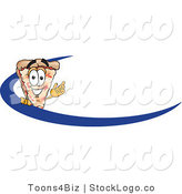 Vector Logo of a Cheese Pizza Mascot Cartoon Character Waving and Standing Behind a Blue Dash on an Employee Nametag or Business Logo by Toons4Biz