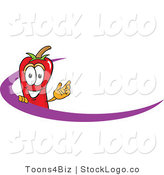 Vector Logo of a Chili Pepper Mascot Cartoon Character Logo with a Purple Swoop Design by Toons4Biz