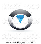 Vector Logo of a Chrome and Blue Circular Knob on White by Beboy