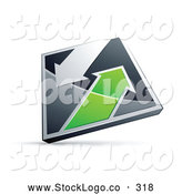 Vector Logo of a Chrome and Green Diamond with Arrows on White by Beboy
