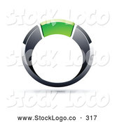 Vector Logo of a Chrome and Green Ring on White by Beboy