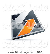 Vector Logo of a Chrome and Orange 3d Diamond with Arrows by Beboy