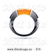 Vector Logo of a Chrome and Orange Ring on White by Beboy