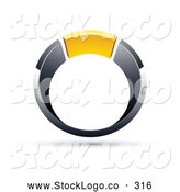 Vector Logo of a Chrome and Yellow Ring on White by Beboy