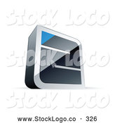 Vector Logo of a Chrome Maze with a Blue Triangle at the Finish by Beboy