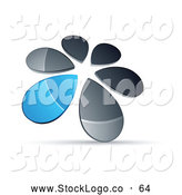 Vector Logo of a Circle of Silver and Blue Droplets Forming a Windmill by Beboy