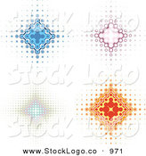 Vector Logo of a Collection of Four Blue, Pink, and Orange Diamond Backgrounds with Dots Spanning from the Center by KJ Pargeter
