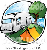 Vector Logo of a Colorful Badge Featuring a Retro Camper Parked by a Tent and Tree in a Camp Ground by TA Images