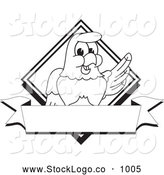 Vector Logo of a Coloring Page of a Cute Bald Eagle Hawk or Falcon Diamond Banner Logo Outline by Toons4Biz
