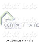 Vector Logo of a Company Stock Logo of Green Lines Resembling a Home or Roof, Above Space for a Company Name and Information by KJ Pargeter