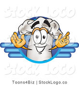 Vector Logo of a Cook Hat Mascot Cartoon Character on a Blue Logo by Toons4Biz