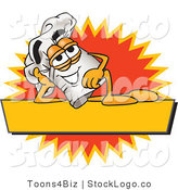 Vector Logo of a Cook Hat Mascot Cartoon Character Resting over a Blank Yellow Label by Toons4Biz