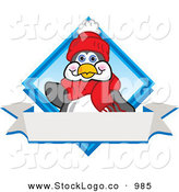Vector Logo of a Cute and Friendly Penguin Mascot Cartoon Character Waving on a Blue Logo with a Blank White Banner by Toons4Biz