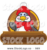 Vector Logo of a Cute and Friendly Penguin Mascot Cartoon Character Waving on a Wooden Logo Plaque by Toons4Biz