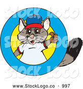 Vector Logo of a Cute and Friendly Possum Logo with a Blue Ring for Text by Dennis Holmes Designs