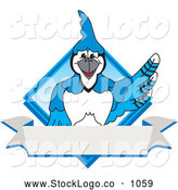 Vector Logo of a Cute Blue Jay Character School Mascot Blue Diamond Banner Logo by Toons4Biz