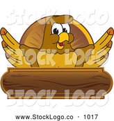 Vector Logo of a Cute Hawk Mascot Character Wooden Plaque Logo by Toons4Biz