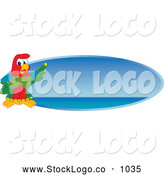 Vector Logo of a Cute Macaw Parrot Character Mascot Blue Sea Logo by Toons4Biz