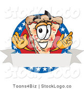 Vector Logo of a Cute Pizza Mascot Cartoon Character over a Blank White Banner on an American Themed Business Logo by Toons4Biz