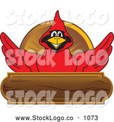 Vector Logo of a Cute Red Cardinal Character School Mascot Wood Plaque Logo by Toons4Biz
