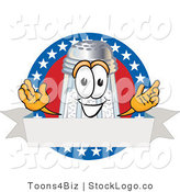 Vector Logo of a Cute Salt Shaker Mascot Cartoon Character over a Blank White Banner on an American Themed Logo by Toons4Biz