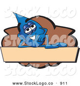 Vector Logo of a Cute Water Drop Mascot Cartoon Character Reclining on a Blank Tan and Brown Label by Toons4Biz