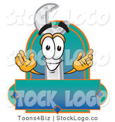 Vector Logo of a Cute Wrench Mascot Cartoon Character with a Blank Label by Toons4Biz