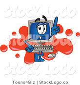 Vector Logo of a Desktop Computer Mascot Cartoon Character Standing in Front of a Red Paint Splatter Background by Toons4Biz