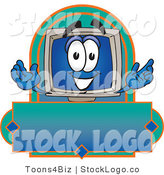 Vector Logo of a Desktop Computer Monitor Mascot Cartoon Character on a Blank Blue Label by Toons4Biz