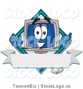 Vector Logo of a Desktop Computer Monitor Mascot Cartoon Character on a Blank Label with a Blank Banner and Diamond by Toons4Biz