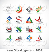 Vector Logo of a Digital Collage of 16 Colorful Abstract Web Design Elements or Logos, on White by TA Images