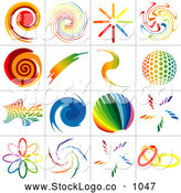 October 7th, 2013: Vector Logo of a Digital Collage of Rainbow Logo Designs, on White by Dero