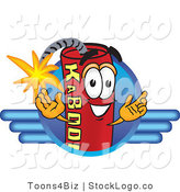 Vector Logo of a Dynamite Mascot Cartoon Character Logo with a Blue Wing Design by Toons4Biz