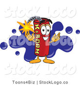 Vector Logo of a Dynamite Stick Mascot Cartoon Character with a Blue Paint Splatter Behind by Toons4Biz