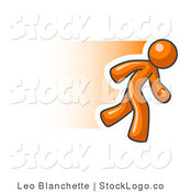 Vector Logo of a Fast Orange Business Man Running by Leo Blanchette
