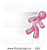 Vector Logo of a Fast Pink Business Man Running by Leo Blanchette