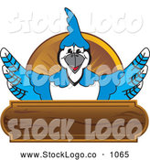 Vector Logo of a Friendly Blue Jay Character School Mascot Wood Plaque Logo by Toons4Biz